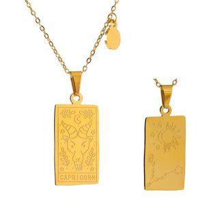 NEW 18K Gold Plated Capricorn Sign Zodiac Tarot Card Square Pendant Necklace